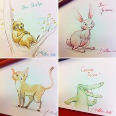 Quick signings ! #illustration #artwork #draw #drawing #pencil #signing #sloth #bunny #cat #crocodile #juliemellan