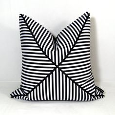 Black and White Pillow Cover - Decorative Cushion - Modern Stripe - Striped - 16X16 inch