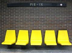 Original seating, Pie IX Metro Station, Montreal