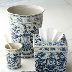 """Horchow - Oriental Danny Inc """"Blue and White Toile"""" Porcelain Vanity Accessories Blue And White China, Love Blue, Granny Chic, White Bathroom Accessories, Toilet Accessories, Decorative Accessories, Such Und Find, Vibeke Design, Himmelblau"""