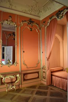 There are many reasons why I travel: for visiting an iconic place, for discovering hidden histories - I have a PhD in history, after all -,. Castle Rooms, French Interiors, Rococo, Dream Bedroom, French Style, Feng Shui, Boudoir, Oversized Mirror, Salmon