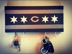 Chicago Bears key chain holder; custom hand painted; football lover keychain rack; Chicago Bears home decor man cave; Chicago Flag Gift by DiamondEyesChicago on Etsy https://www.etsy.com/listing/293969843/chicago-bears-key-chain-holder-custom