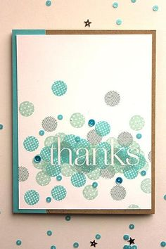 Make It Monday #164: Cluster Stamped Sentiment - Thanks Card by Heather Nichols for Papertrey Ink (May 2014)