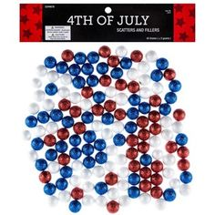Red, White & Blue Foam Glitter Balls