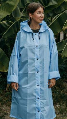 Vinyl Raincoat, Plastic Raincoat, Macs, Rain Wear, Girls, Shirt Dress, Retro, How To Wear, Blue