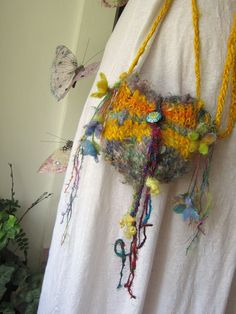 handknit shoulder bag rustic fairytale bag by beautifulplace, $36.00