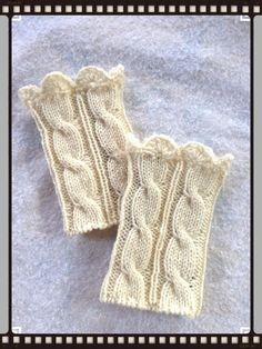 Sale100% WoolButter Cream ColorCable Boot Cuffs Hand by Knitfunmom