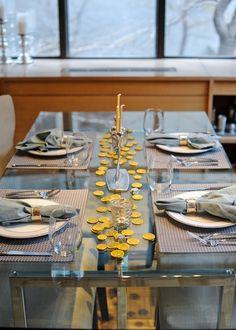 Simple yet elegant Channukah dinner table setting