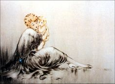 "Art by Louis Icart - ""Young Mother."""