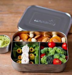 LunchBots Trio Stainless Steel Food Containers feature three compartments for balanced snacks: grapes, cheese and crackers; sushi, edamame and carrots; pasta, chicken and cherry tomatoes—the combinations are endless! Whatever you pack, LunchBots make meals more appetizing, helping ensure your food containers return home empty.