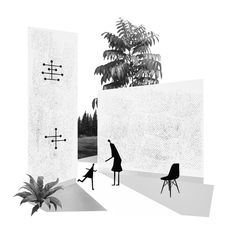 archistic Collage Eames / Sanaa architects via Eames, Architects, Collage, Studio, Illustration, Lab, Composition, Sketch, Chair