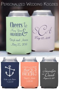 Custom printed wedding koozies can be displayed at each place setting or on your bar as a useful take-home favor for guests. Personalize with your choice of design, monogram, and text in a wide range of koozie and imprint colors to match any wedding color scheme or theme. Design and preview your koozies here: http://myweddingreceptionideas.com/personalized_collapsible_can_koozies.asp