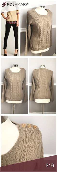 Forever 21 Tan Cableknit Sweater Perfect for fall and winter! Tan / beige cable knit sweater with 3 buttons on one shoulder Forever 21 Sweaters