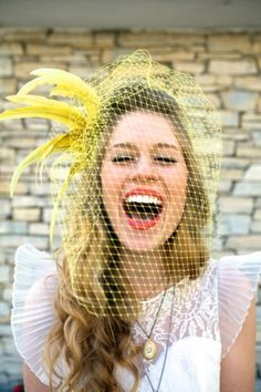 yellow wedding veil and huge smile :)