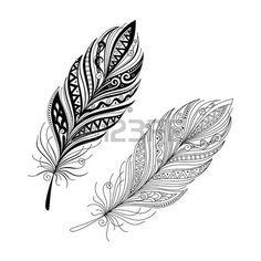 Vecteur Peerless décoratif Feather, la conception Tribal, Tatouage