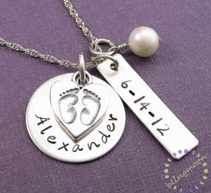 Mother charm Necklace: Handstamped mommy BABY FEET CHARM