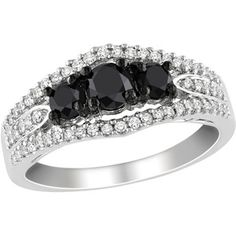 1 Carat T.W. Black and White Diamond Sterling Silver Ring (4.5mm) I want this one !!!!