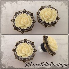 PICK SIZE  White resin rose antique bronze Custom Plug earrings Rockabilly psychobilly pinup jewelry plugs