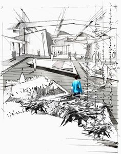 Architecture interior sketch.
