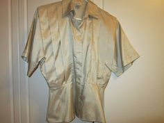 Nicola Silky Tan Wear to Work Button Down Short Sleeved Blouse Women's Size 8  #Nicola #Fittedatwaist #Career