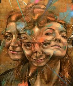 New Powerful Murals by Street Artist Rems 182 - streetart Abstract Portrait, Portrait Art, Portraits, Portrait Paintings, Oil Paintings, Laughing Funny, Reflection Art, Ap Studio Art, Psy Art