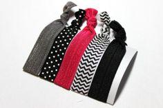 Set of 5 Hot Pink & Black Hair Ties Ponytail Holders by ElenasBows, $5.00
