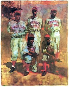 American All-Stars 1945. Jackie Robinson (front left) and Roy Camanella (rear left). Painting by Bernie Fuchs.