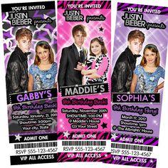 Justin Bieber Invitation - Birthday Party Ticket Invite - Custom Personalized Digital Photo Card - Justin Bieber Party Favor Supplies via Etsy