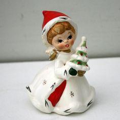 Vintage NAPCO Figurine Christmas Santa Girl x8387 Tree