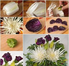 Fruit Hack-Correct Way to Cut Pineapple BoatHow to Make Beautiful Cabbage Flower Bouquet tutorial and instruction.How to DIY Beautiful Edible Bouquet out of Cabbage - Cool CreativityThe chrysanthemum flower bouquet are made out of red cabbage and Chi Edible Bouquets, Edible Flowers, Diy Flowers, Paper Flowers, Wedding Flowers, Cheap Flowers, Wedding Bouquets, Cabbage Flowers, Flower Bouquet Diy