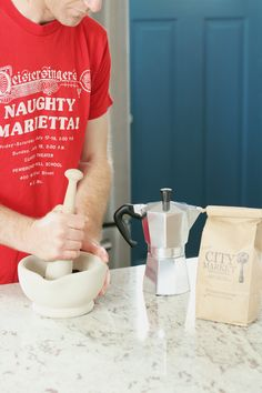 Learn how to make an almond milk latte at home using a percolator! Step by Step tutorial | Chard in Charge blog | Dianna Sinni, Registered Dietitian