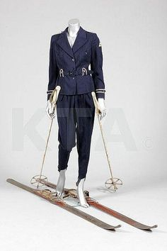 View Lot Details            Lot 97: An Och Freres ski-suit, Swiss, late 1930s, of navy     An Och Freres ski-suit, Swiss, late 1930s, of navy wool with white leather piping, Kerry Taylor Auctions
