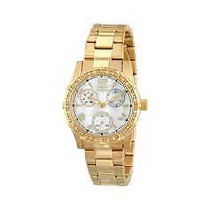 Women's Wrist Watches - Invicta Womens 16121 Angel Analog Quartz Gold Dress Watch ** Details can be found by clicking on the image.