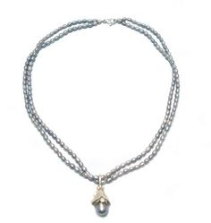 Zita Jansen - Collier 'Freida' - grijze parels en zilver