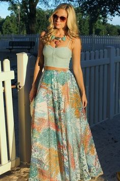 Maxi & crop top. I need to find me something cute like this.