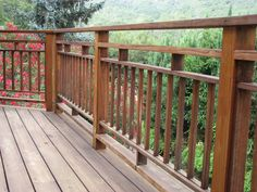 contain Diy deck railing ideas designs pictures from wood metal cable alumunium fiberglass etc for outdoor or exterior lowes composite small free. Deck Stair Railing, Deck Railing Design, Railing Ideas, Pergola Ideas, Porch Balusters, Outdoor Railings, Wood Railings For Stairs, Cool Deck, Diy Deck
