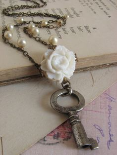 Romantic Vintage Rose Necklace  shabby chic by whybecause on Etsy, $36.50