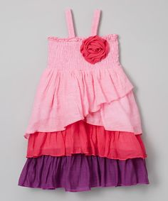 Lele Vintage Pink & Fuchsia Layered Dress - Toddler & Girls | zulily