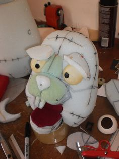 Puppet-in-progress: Note use of high-density and upholstery foam (not reticulated)  Also, eyes built-in under fabric coating (?)