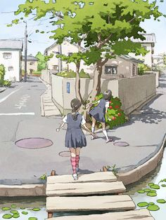 French Private School: two schoolgirls have fun together as they walk to school one day in the early summer Aesthetic Art, Aesthetic Anime, Anime Studio, Bg Design, Digital Art Tutorial, Art Reference Poses, Anime Scenery, Cartoon Art, Japanese Art
