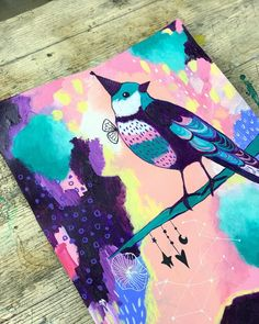 I added a bird to my second piece of abstract art too. I love how they go together. These are now up for sale. PM/ DM me if you're…