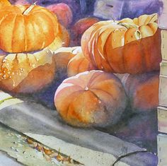 Citrouilles – Sur le trottoir | Joël SIMON Watercolor Fruit, Watercolor And Ink, Watercolour Painting, Watercolor Flowers, Watercolor Lesson, Illustrations, Illustration Art, Photo Macro, Pumpkin Art