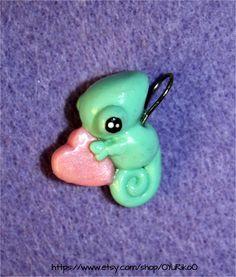 Baby chameleon polymer clay charm.