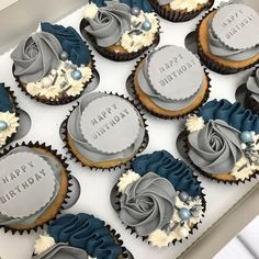 Iv missed these beauties 💙 . 50th Birthday Cupcakes, Fathers Day Cupcakes, Cupcakes For Men, Purple Cupcakes, Fancy Cupcakes, Birthday Cakes For Men, Wedding Cupcakes, Buttercream Cupcakes, Baking Cupcakes