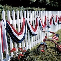 Maybe could do with rolls of plastic tablecloths   Would be much cheaper. American Flag Banner, 4th July Decorations, Cookout Decorations, Homemade Decorations, Memorial Day Decorations, Outdoor Decorations, Fourth Of July Decor, 4th Of July Party, Plastic Tablecloth Decorations