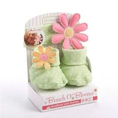 Baby Aspen Baby Girl Gift Set - Flower Headband and Booties 0-9 Months