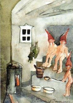 by Minna Immonen link Saunatonttu - The Sauna gnome. A gnome is said to inhabit the sauna and punish those who misbehave in it Finland Finnish Sauna, Artist Biography, Sauna Room, Saunas, Finland, Illustrators, Scandinavian, Cool Pictures, Cool Art
