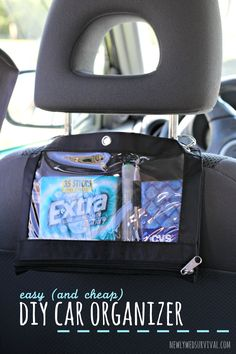 Make it easy to share items with passengers using this diy car organizer. Kayak Storage, Car Storage, Scion Tc, Make It Easy, Easy Diy, Honda Accord, Car Seat Organizer, Car Organizers, Diy Organizer