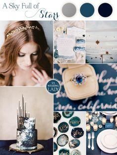 Starry Night Wedding Ideas in Indigo Blue and Mixed Metallics | http://heyweddinglady.com/starry-night-wedding-ideas-indigo-blue/
