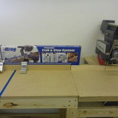 Complete measuring system for your miter saw, radial arm saw or drill press is faster and more accurate than putting a pencil mark on every . Woodworking Shop Layout, Woodworking Bench Plans, Rockler Woodworking, Garage Workbench Plans, Garage Tools, Wood Table Design, Table Designs, Garage Workshop, Workshop Ideas